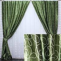 """Комплект готовых штор блэкаут коллекция """"Жаклин"""", двусторонний. Цвет зеленый. 327ш (А), фото 1"""