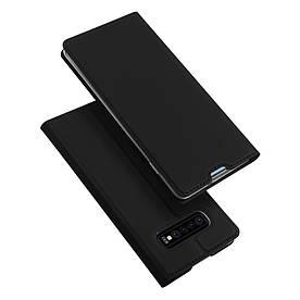 Чехол книжка для Samsung Galaxy S10 боковой с отсеком для визиток, DUX DUCIS, черный