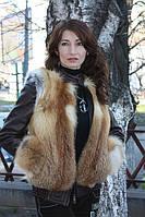 Зимняя куртка из цельных шкурок рыжей лисы с кожаными рукавами Модель 2, фото 1
