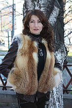 Зимняя куртка из цельных шкурок рыжей лисы с кожаными рукавами Модель 2