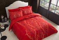 TAC евро комплект  постельного белья saten Delux  Mauna kirmizi