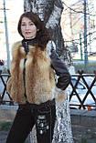 Зимняя куртка из цельных шкурок рыжей лисы с кожаными рукавами Модель 2, фото 2