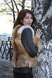 Зимняя куртка из цельных шкурок рыжей лисы с кожаными рукавами Модель 2, фото 3