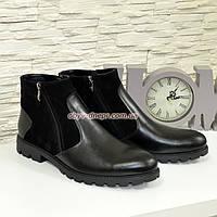 Мужские комбинированные классические ботинки, натуральная кожа и замш