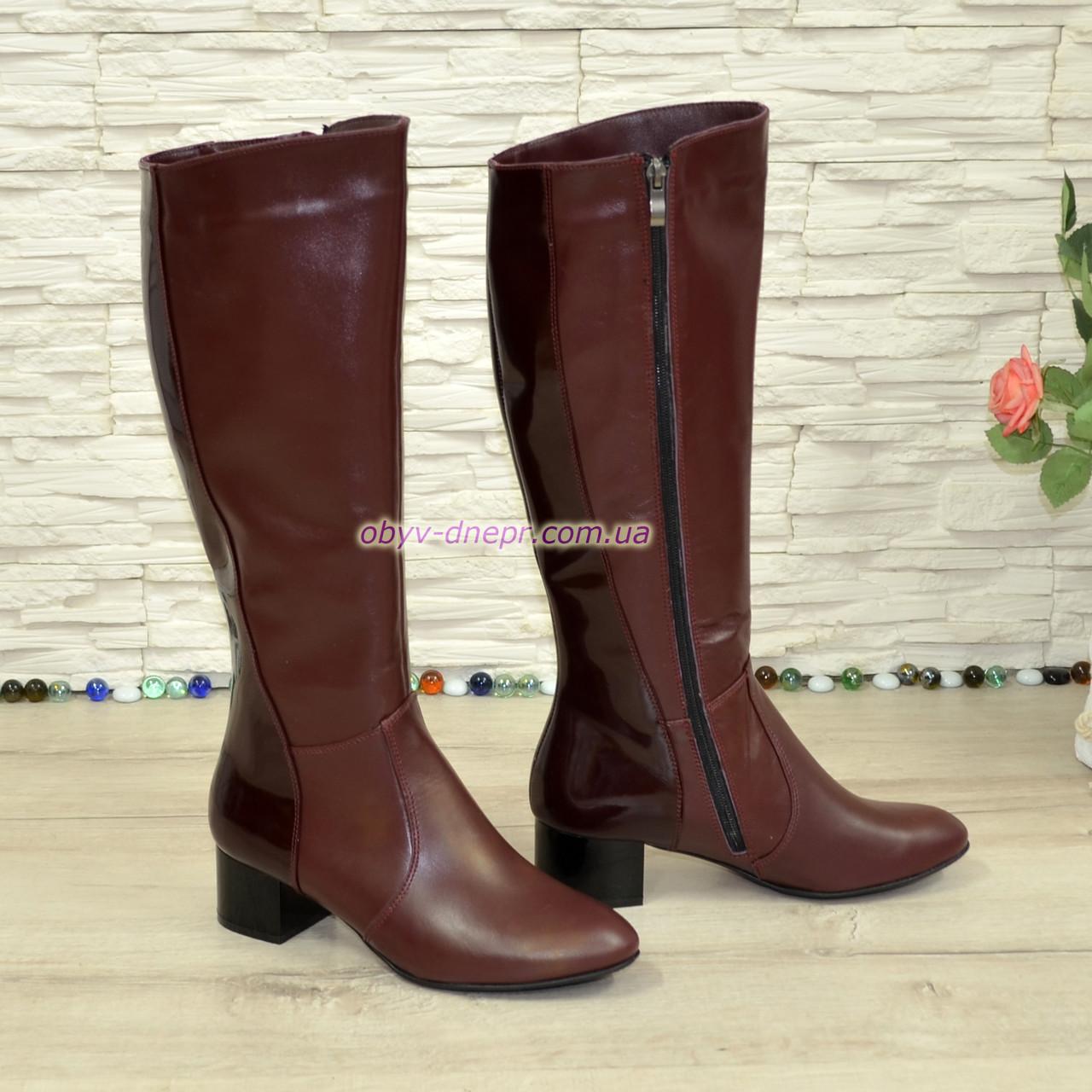 Сапоги зимние кожаные на невысоком каблуке, декорированы вставками из лаковой кожи. 38 размер