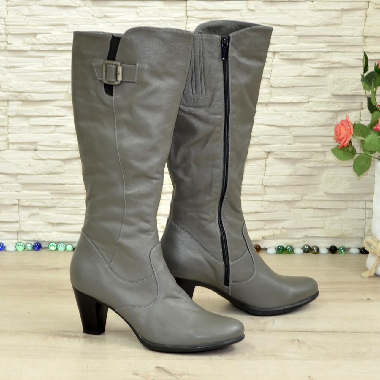 Сапоги зимние серые кожаные женские на устойчивом каблуке. 41 размер