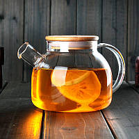 Заварочный чайник из жаропрочного стекла с деревянной крышкой 1000 мл, фото 1