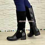 Сапоги комбинированные зимние на маленьком каблуке, декорированы ремешком, фото 3