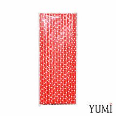 Трубочки бумажные красные в белый горошек, 25 шт
