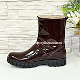 Ботинки подростковые свободного обувания, для девочек, натуральная лаковая кожа, фото 2