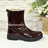 Ботинки подростковые свободного обувания, для девочек, натуральная лаковая кожа, фото 3