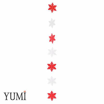 Декор: Гірлянда картон плоска Білі і червоні сніжинки 1,2 м, фото 2