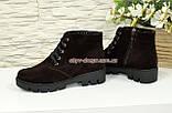 Черевики демісезонні жіночі замшеві на шнурівці, на товстій підошві, колір коричневий, фото 3