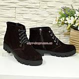 Черевики демісезонні жіночі замшеві на шнурівці, на товстій підошві, колір коричневий, фото 4