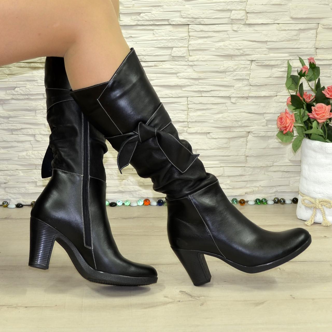 Женские кожаные зимние сапоги на высоком каблуке. В наличии 41 размер