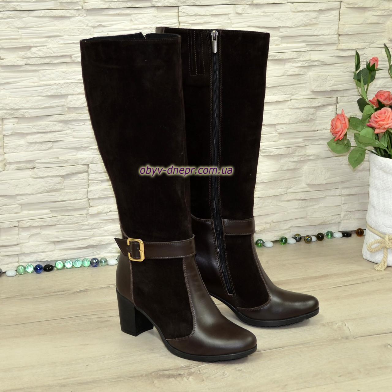 Сапоги женские комбинированные на невысоком каблуке, натуральная кожа и замша. Батал! 36 размер, голень 40 см