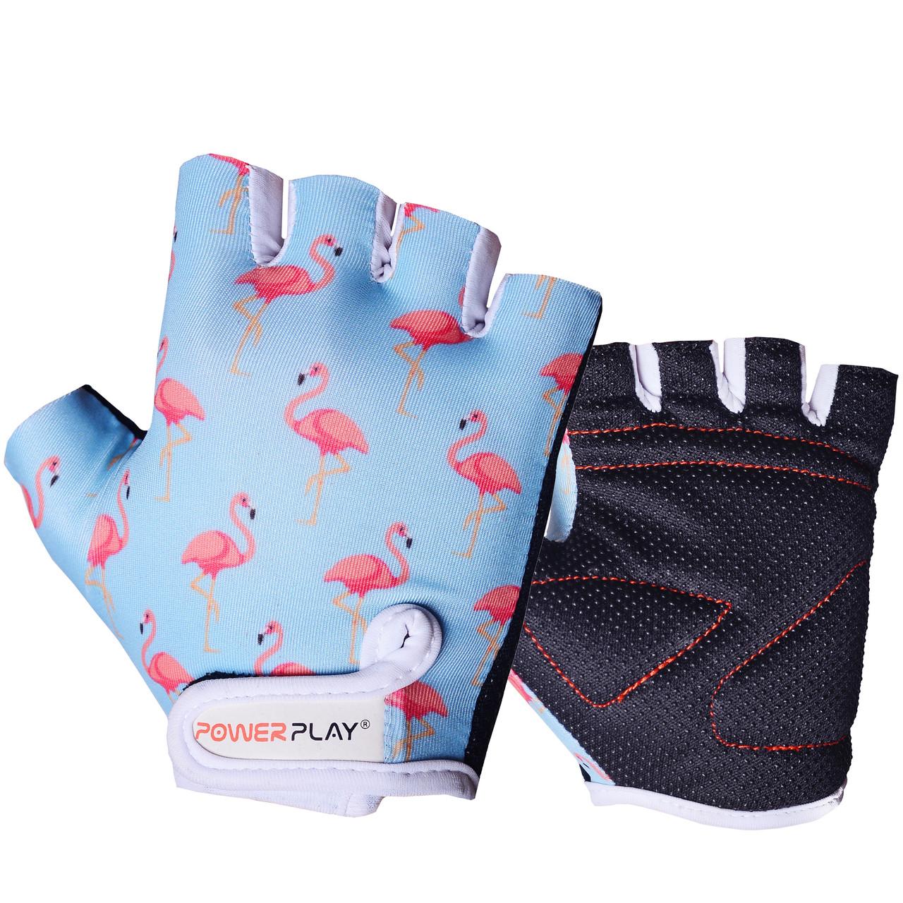 Велоперчатки детские PowerPlay 001 Фламинго голубые 2XS