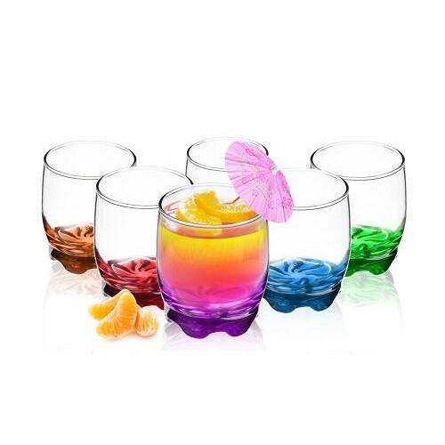Стакан для напитков, 6 штук, 250 мл, цветное дно, разноцветный