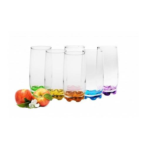 Стакан для напитков, 6 штук, 350 мл, цветное дно, разноцветный