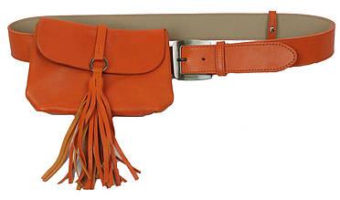 Набор сумка женская на пояс+ремень кожаные Monohrome 74688 оранжевый df60cc12ab8