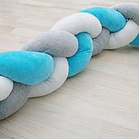 Бортик косичка голубой 140х25 см, защита коса в детскую кроватку