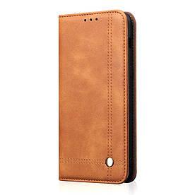 Чехол книжка для Samsung Galaxy S10 Lite боковой с отсеком для визиток, Crazy Horse, коричневый