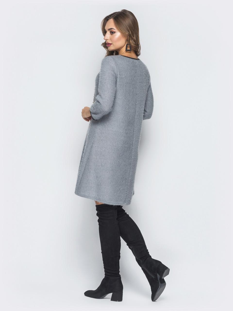 e0b561c45f6 🎈Трикотажное платье-трапеция с красивым декором (серое