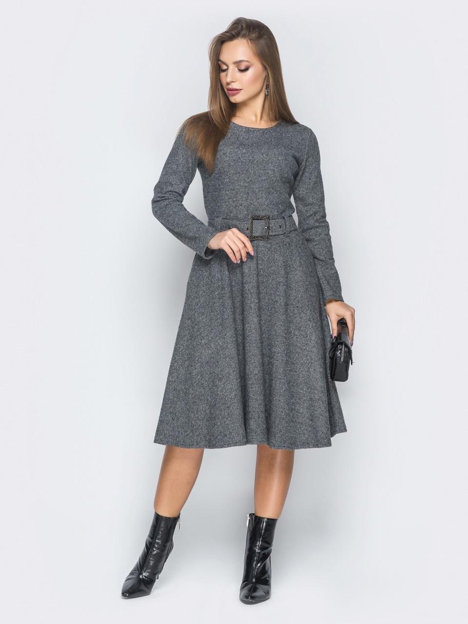 99f6bbb1607 🎈Теплое платье с расклешенной юбкой (с поясом и карманами