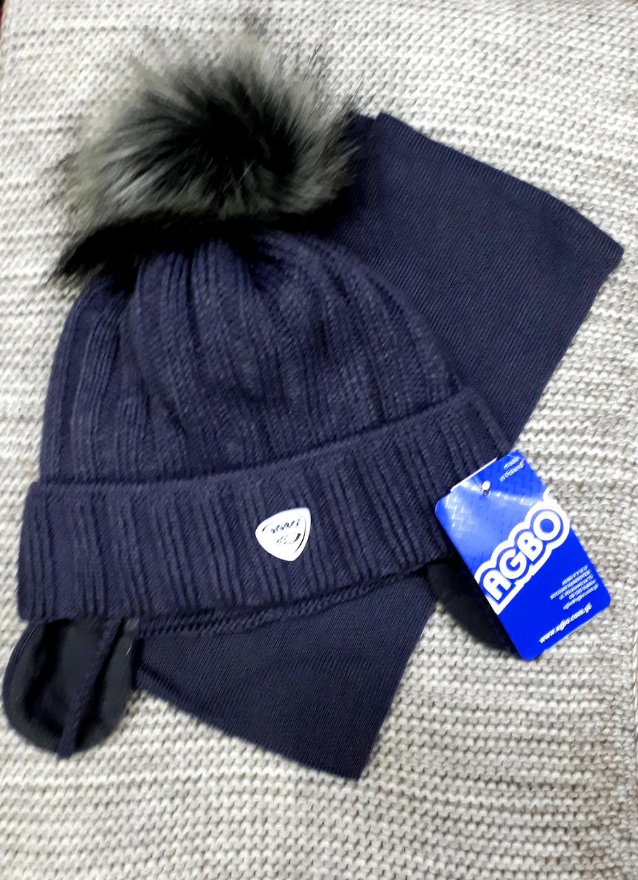 Шапка с шарфиком детская  на мальчика зима серого цвета AGBO  (Польша) размер 48 50