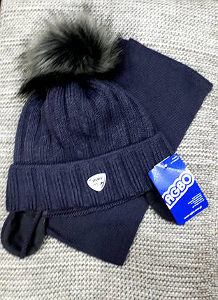 Шапка с шарфиком детская  на мальчика зима серого цвета AGBO  (Польша) размер 48 50, фото 2