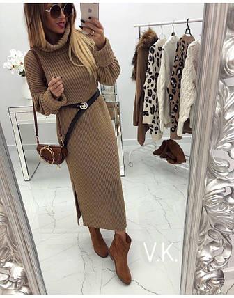 Бежевое вязаное платье с поясом one size, фото 2