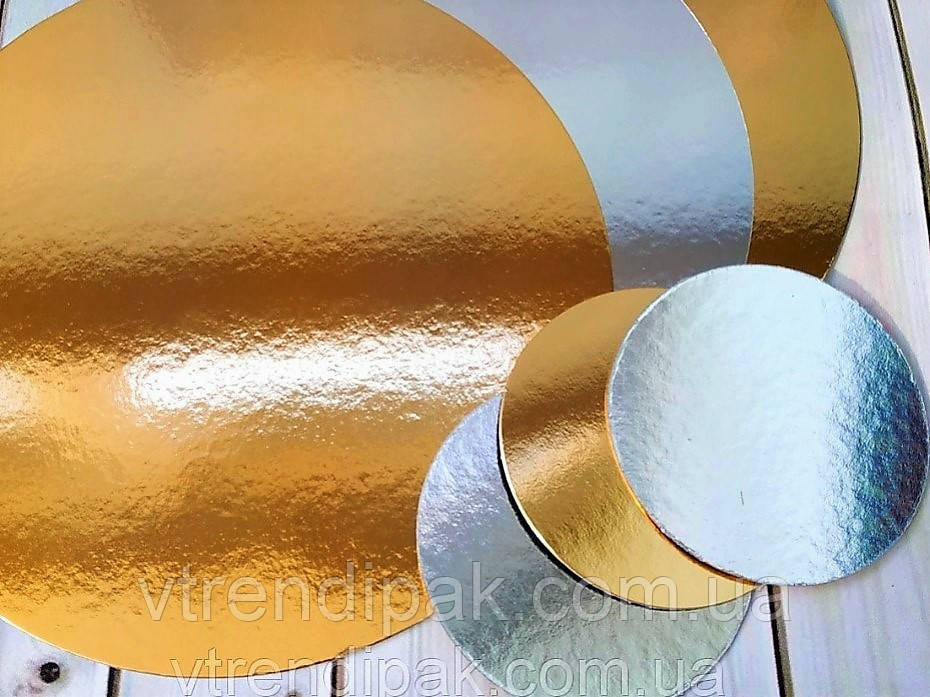 Підложка ламінована золото-срібло 1.2 мм круг 300 мм