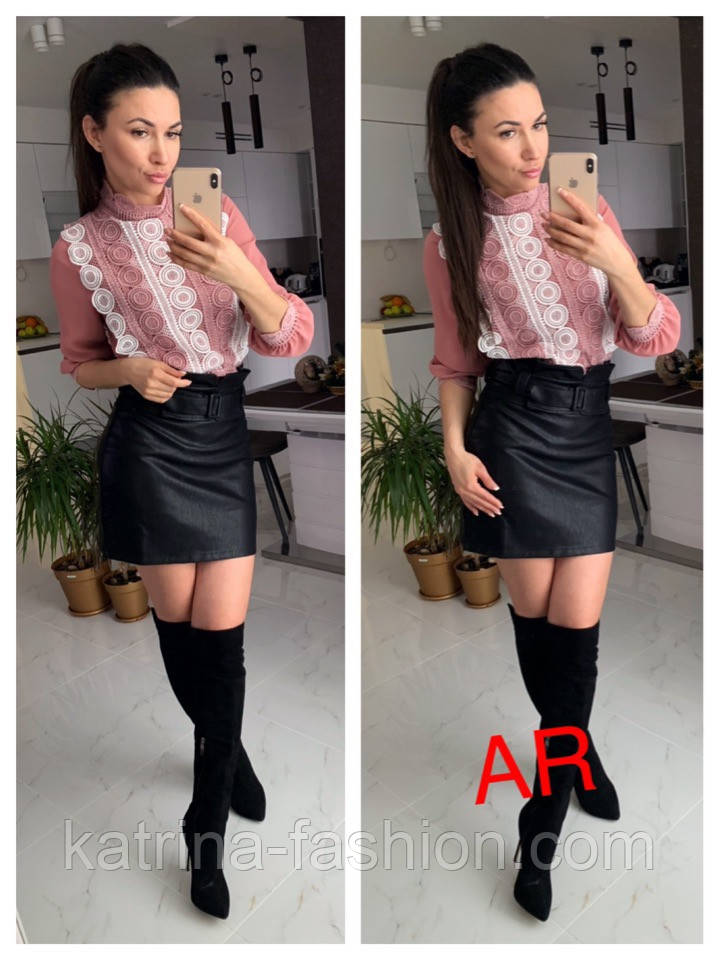 Женская блуза с набивным кружевом (4 цвета)