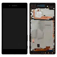 Дисплей для Sony Xperia Z5 E6603, E6653, модуль в сборе (экран и сенсор), с рамкой, черный, оригинал