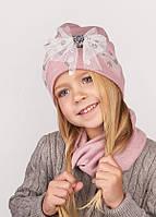 Детская  шапка (набор) для девочек ИРЭН оптом размер 48-50-52