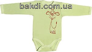 Дитячий боді з начосом ріст 56 0-2 міс інтерлок салатовий на хлопчика дівчинку з довгим рукавом для малюків