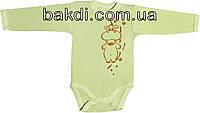 Детское боди с начёсом рост 62 (2-3 мес.) интерлок салатовый на мальчика/девочку с длинным рукавом для новорожденных С-453