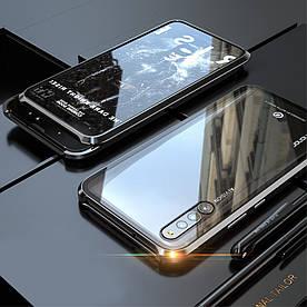 Чехол бампер для Huawei Honor Magic 2 металлический + съемная крышка на магнитах, черный