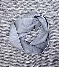 Шапка детская с шарфиком на мальчика зима серый меланж Польша размер 48 50, фото 3