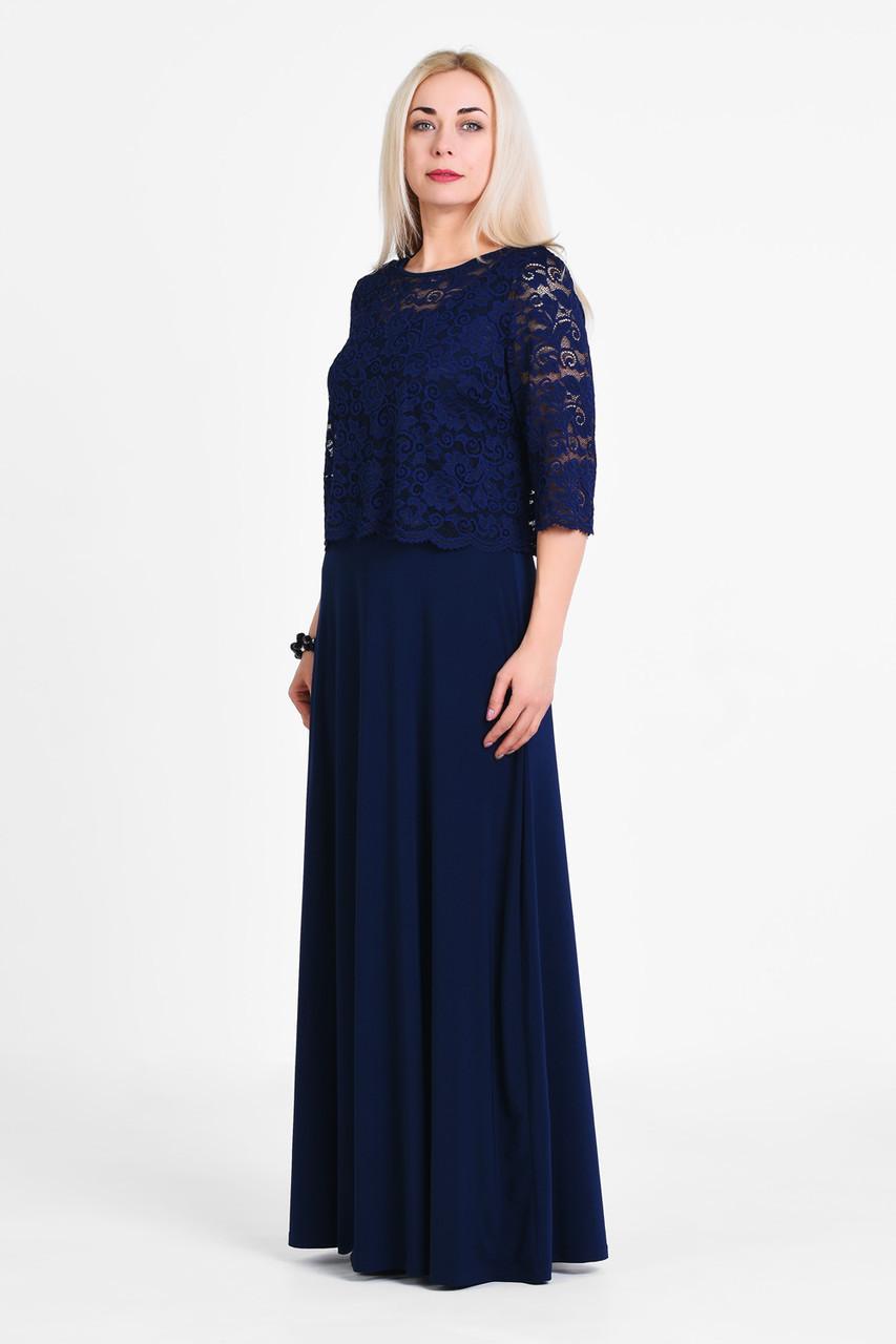 e5cf3bb1759 Женское нарядное платье большого размера кружево темно синее 1905018 ...