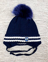 Шапка с хомутом детская  на мальчика зима синего цвета  Elf kids (Польша) размер 48 50, фото 3