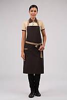 Фартук Atteks с нагрудником поварской / для официанта, бармена длинный коричневый с бежевым - 00212