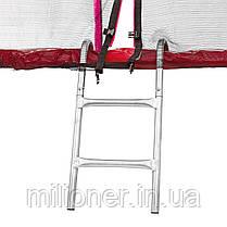 Батут Atleto 252 см с двойными ногами с сеткой красный, фото 2