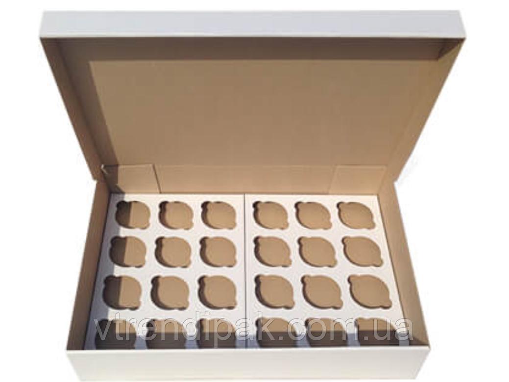 Коробка для 24 кексів, мафінів, капкейків 470*330*90 біла