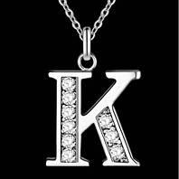Подвеска с цепочкой буква К, покрытие серебро, вставки куб. цирконий