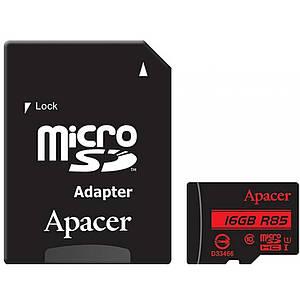 Карта памяти Apacer microSDHC 16GB UHS-I U1 Class 10 (R85 MB/s) + SD-adapter (AP16GMCSH10U5-R)