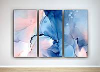 Картина модульная для спальни Абстракция Акварельные розводы Пастельные цвета 90х60 из 3-х частей