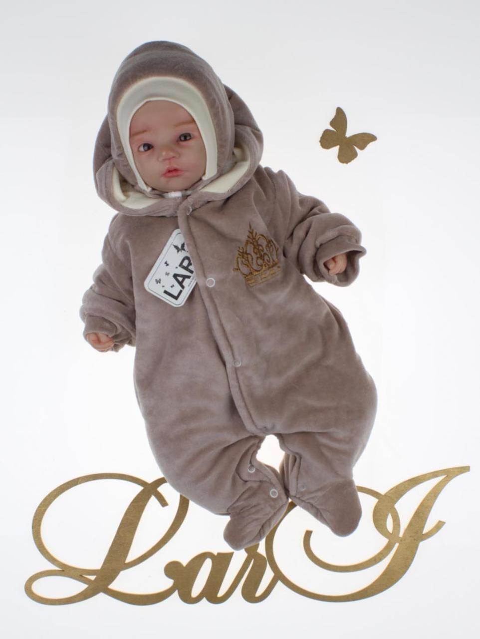 """Зимний комбинезон+шапочка для новорожденных """"Короны"""", (молочный шоколад)"""