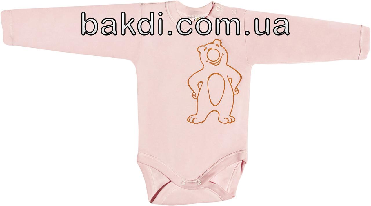 Детское тёплое боди с начёсом рост 56 0-2 мес трикотажное интерлок розовое на девочку бодик с длинным рукавом для новорожденных малышей Р453