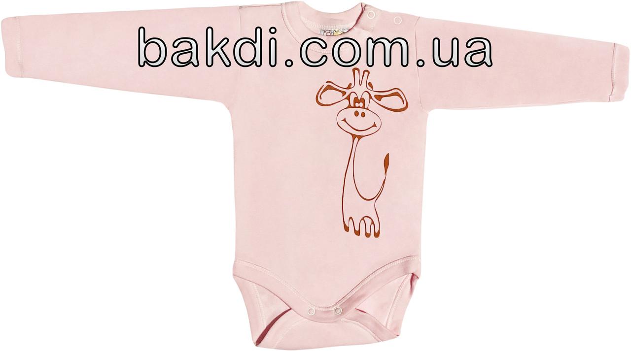 Дитячий боді з начосом зростання 62 (2-3 міс.) інтерлок рожевий на дівчинку з довгим рукавом для